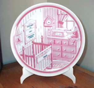 personalized birth plates traditional blue and pink things i