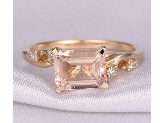 Gemstone can be replaced with other birthstone.Material: Solid 14k Gold( White/Rose/Yellow gold available,14 &18k available)Band Width: approx 1.4mmMain stone: 7x9mm Emerald Cut Natural Pink Morganite,VS ClarityAccent Stones: 0.04ct Round Cut Natural Conflict Free Diamonds,SI Clarity,H colorCut: Very-GoodSetting: ProngFit: Comfortable------