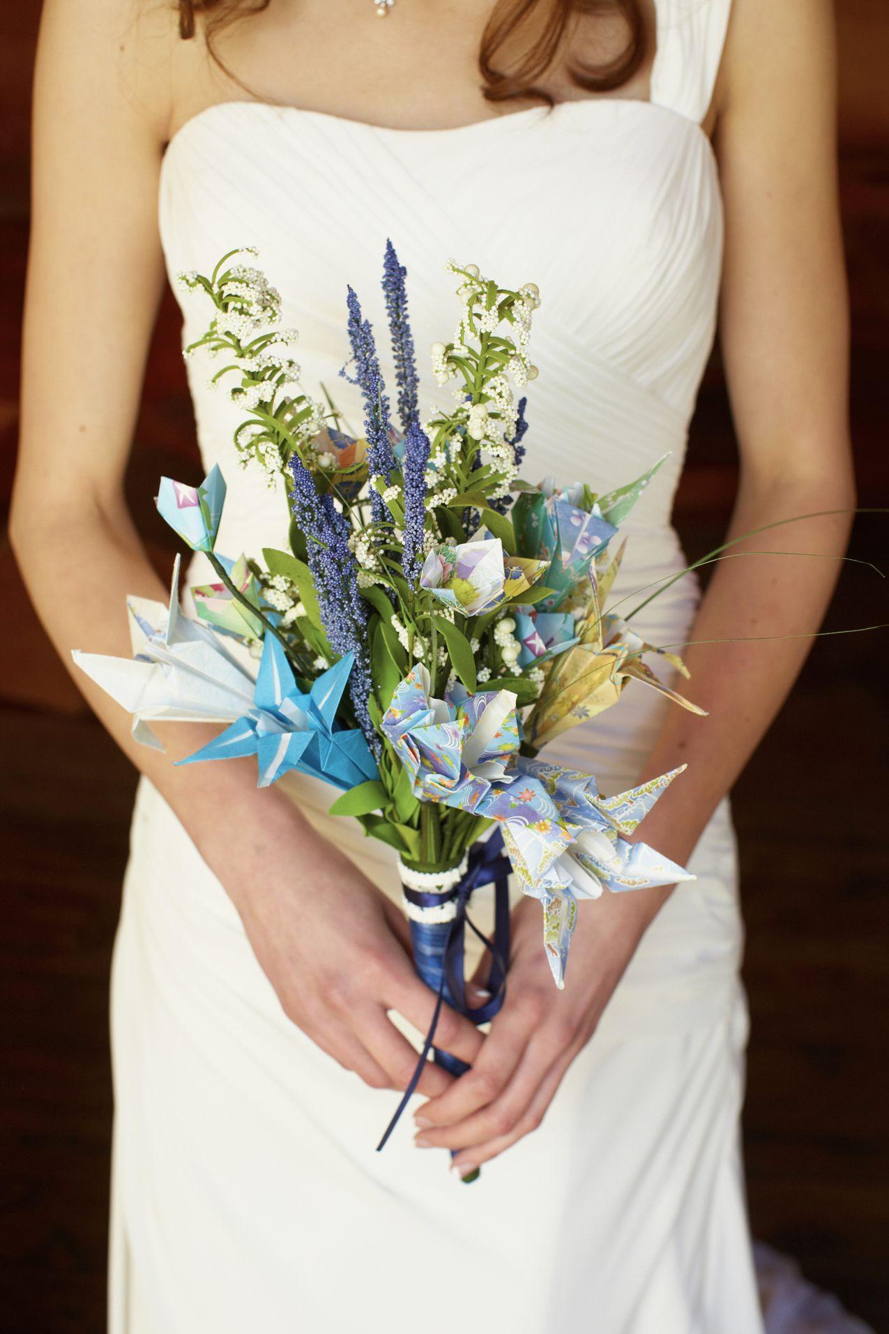 An origami bridal bouquet.