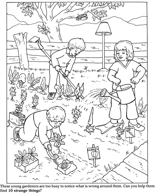 Gardening Coloring Pages For Kindergarten : Dover children s sampler what wrong with this picture