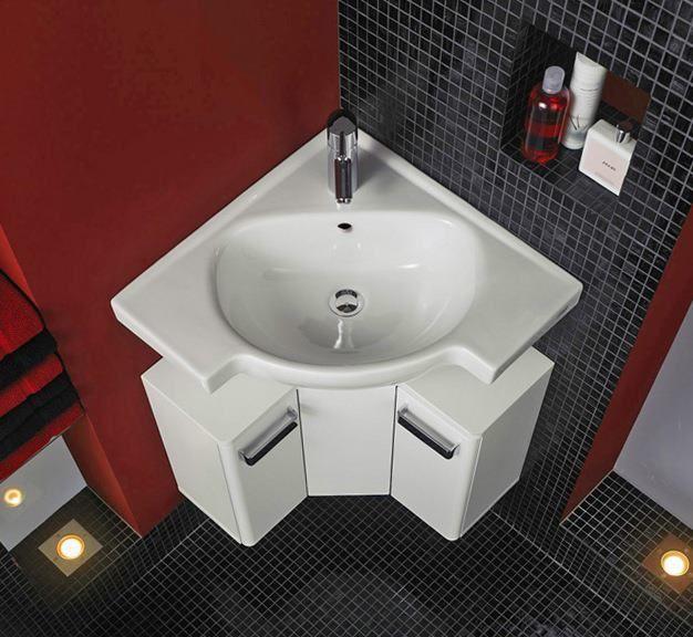 Corner Sink For A Tiny Bathroom Also We Love That Tile Color Combo Small Bathroom Sinks Bathroom Sink Decor Bathroom Design Small Modern