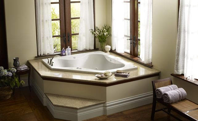 Whirlpoos primo 6060 corner tub love the deck the step for Master bathroom jacuzzi