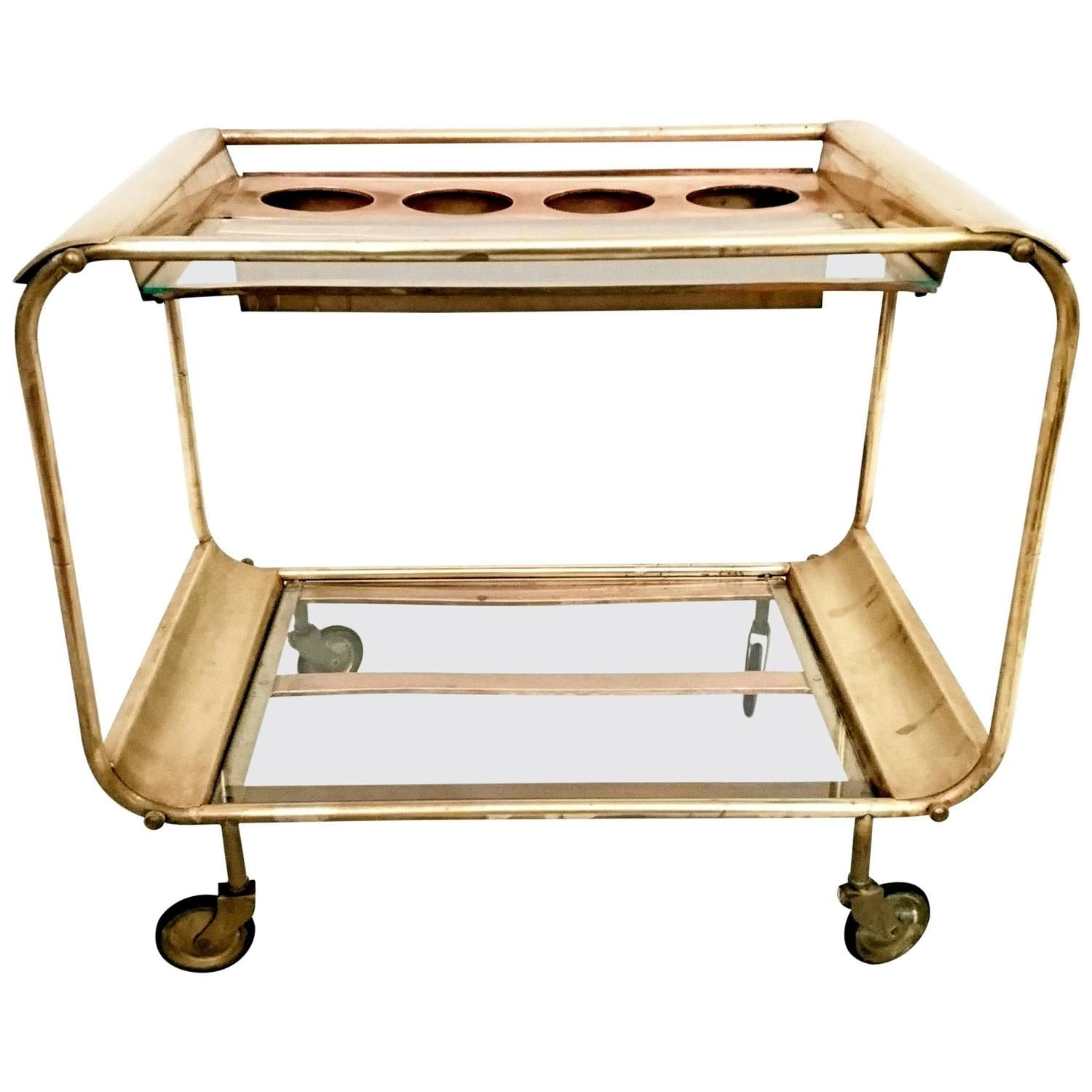 art deco bar cart in copper and brass italy 1930 from a unique