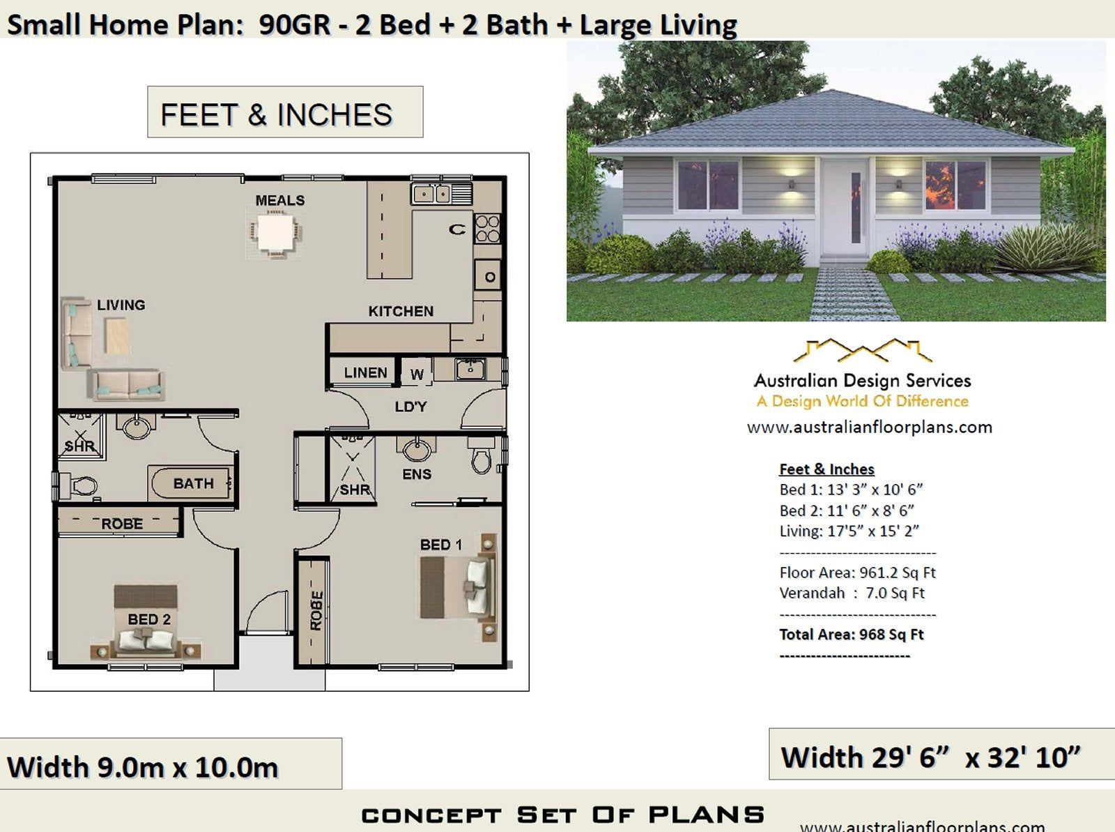 2 Bedroom House Plan 968 Sq Feet Or 90 M2 2 Small Home Etsy House Plans Australia House Plans For Sale House Plans Farmhouse