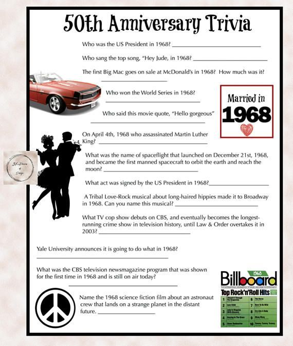 1968 Anniversary Trivia Game 50th Wedding Anniversary Party 40th Anniversary Party 50th Wedding Anniversary Decorations