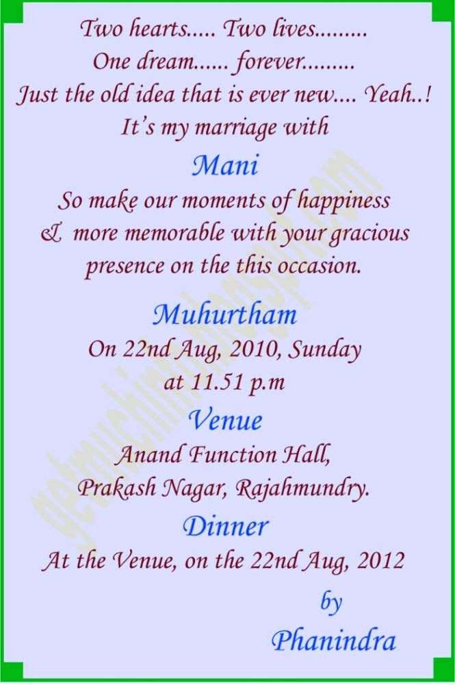 Wedding Message Invitation