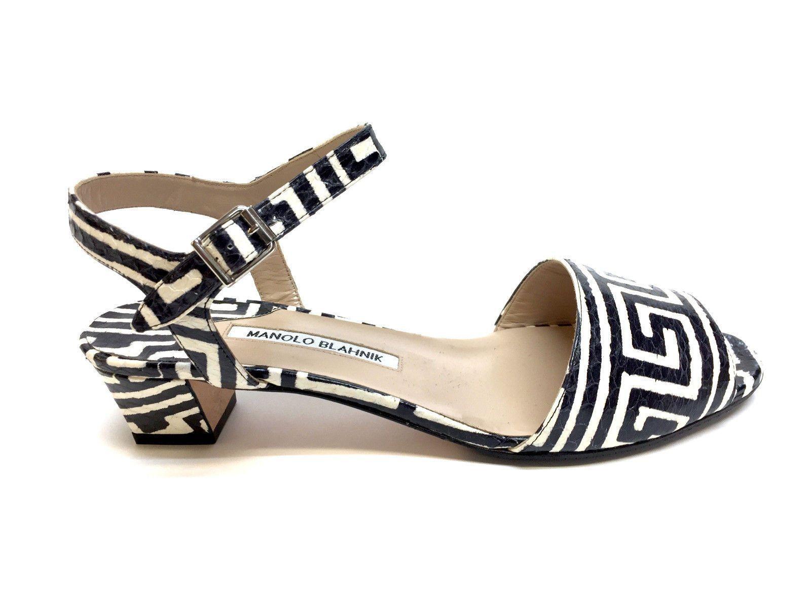 67e0acff2627c MANOLO BLAHNIK Black   Ivory Greek-Key Patterned Python Skin Ankle-Strap  Sandals Size  39   9  manoloblahniksandals