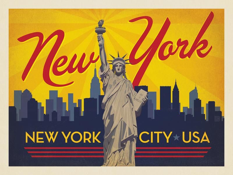 Anderson Design Group American Travel New York City Horizontal Skyline New York Illustration American Travel Anderson Design Group