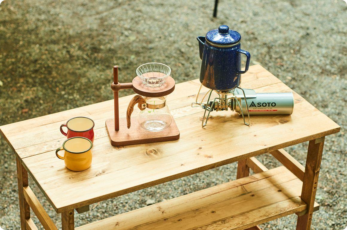 キャンプギアをdiy 変幻自在に使える木製キッチンテーブル Hondaキャンプ キッチンテーブル キャンプコーヒー キャンプ テーブル 自作