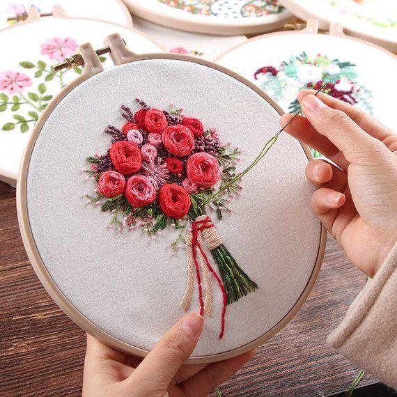 Photo of Plant embroidery set for freshmen, fashionable embroidery set, hand embroidery set, …