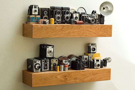 Cherry Wood Floating Shelf By Bswoodworks On Etsy To Display My Vintage Camera Collection