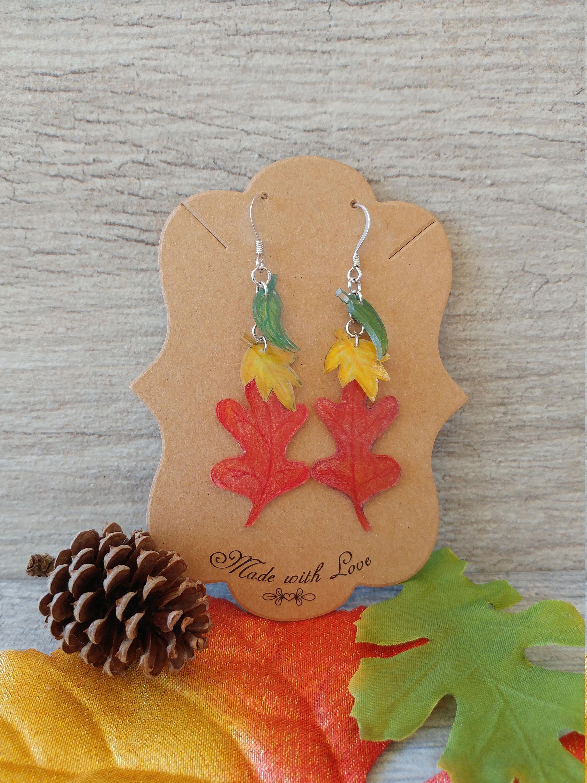 Fall leaves platinum plated autumnhalloween dangle