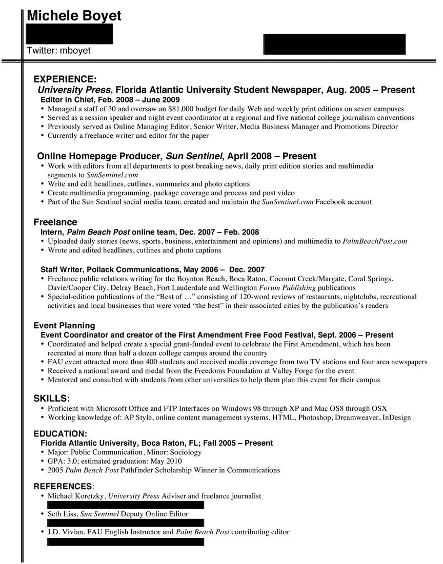 Journalism Resume Resume Samples For Students Examples  Httpwwwjobresume