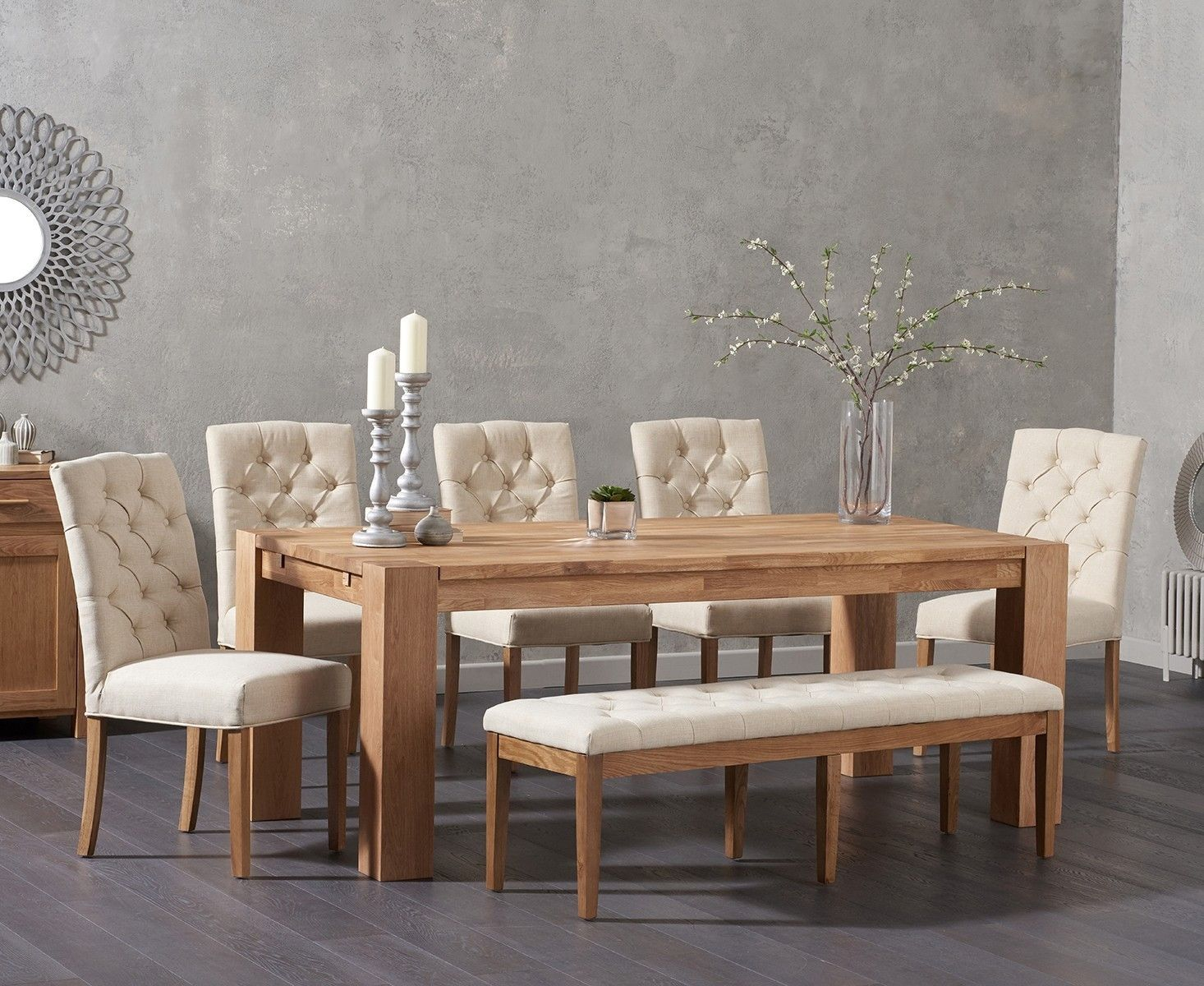 Awesome Madrid 200Cm Solid Oak Dining Table With Candice Fabric Gmtry Best Dining Table And Chair Ideas Images Gmtryco