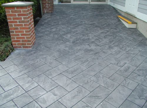 Light Gray W Medium Gray Contrast Stamped Concrete Concrete