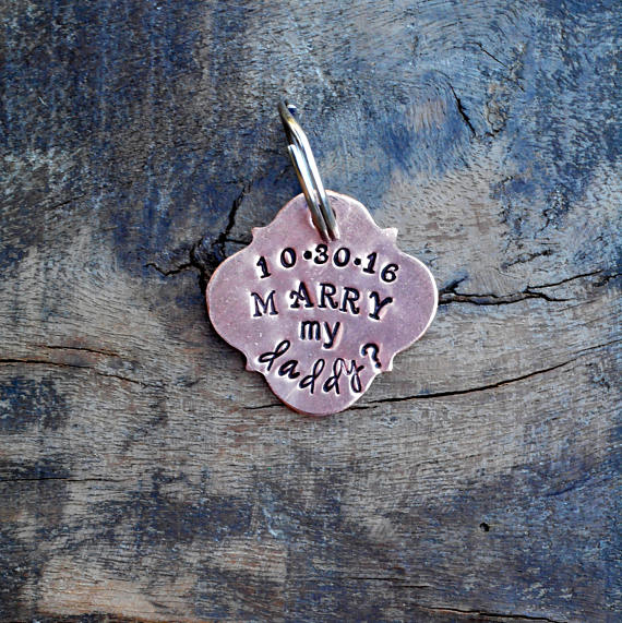 The Puppy Proposal Pet Tag Marry Me Hand Stamped Quatrefoil Shape