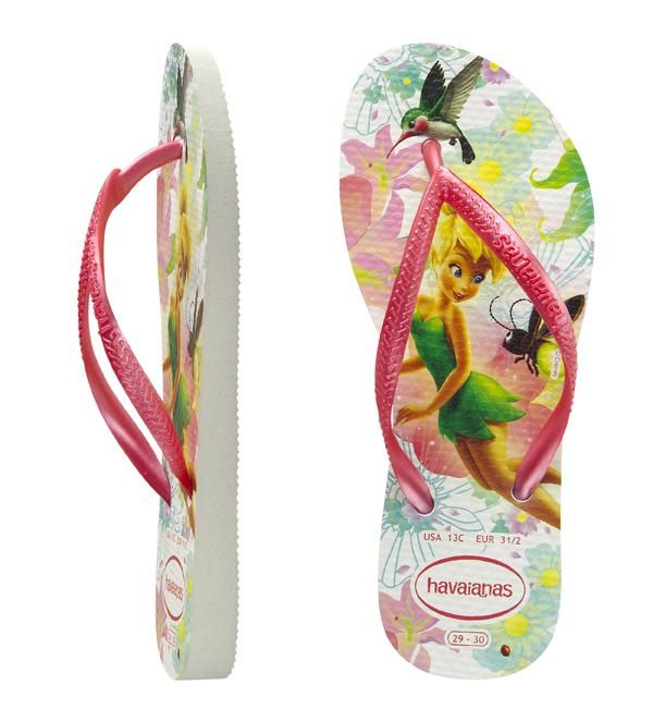 00abc02e8 Kids Slim Tinkerbell White. Kids Havaianas with a Disney fairy print in  white with green