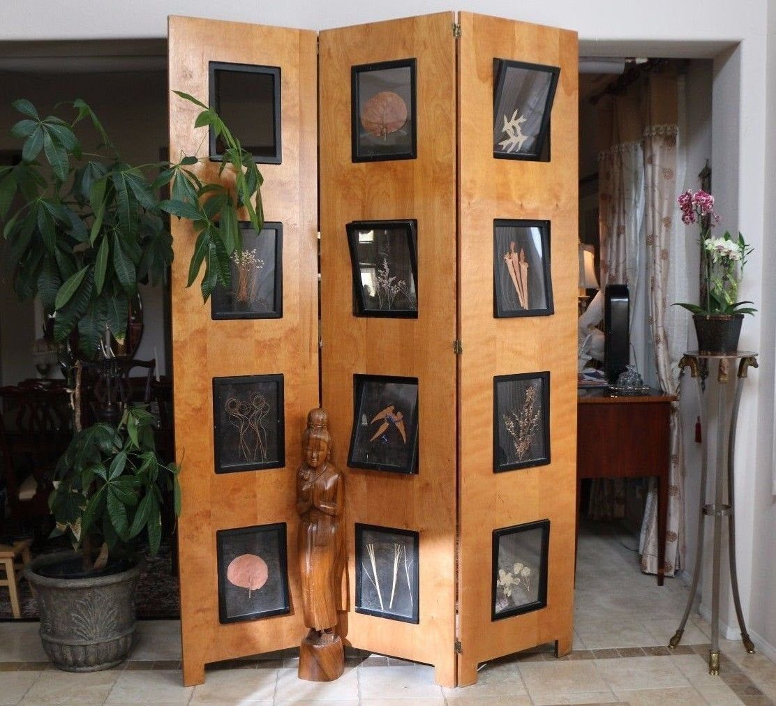 Almost 8 Feet Tall Vintage 3 Panel Maple Room Divider Screen With Picture Frame Inserts