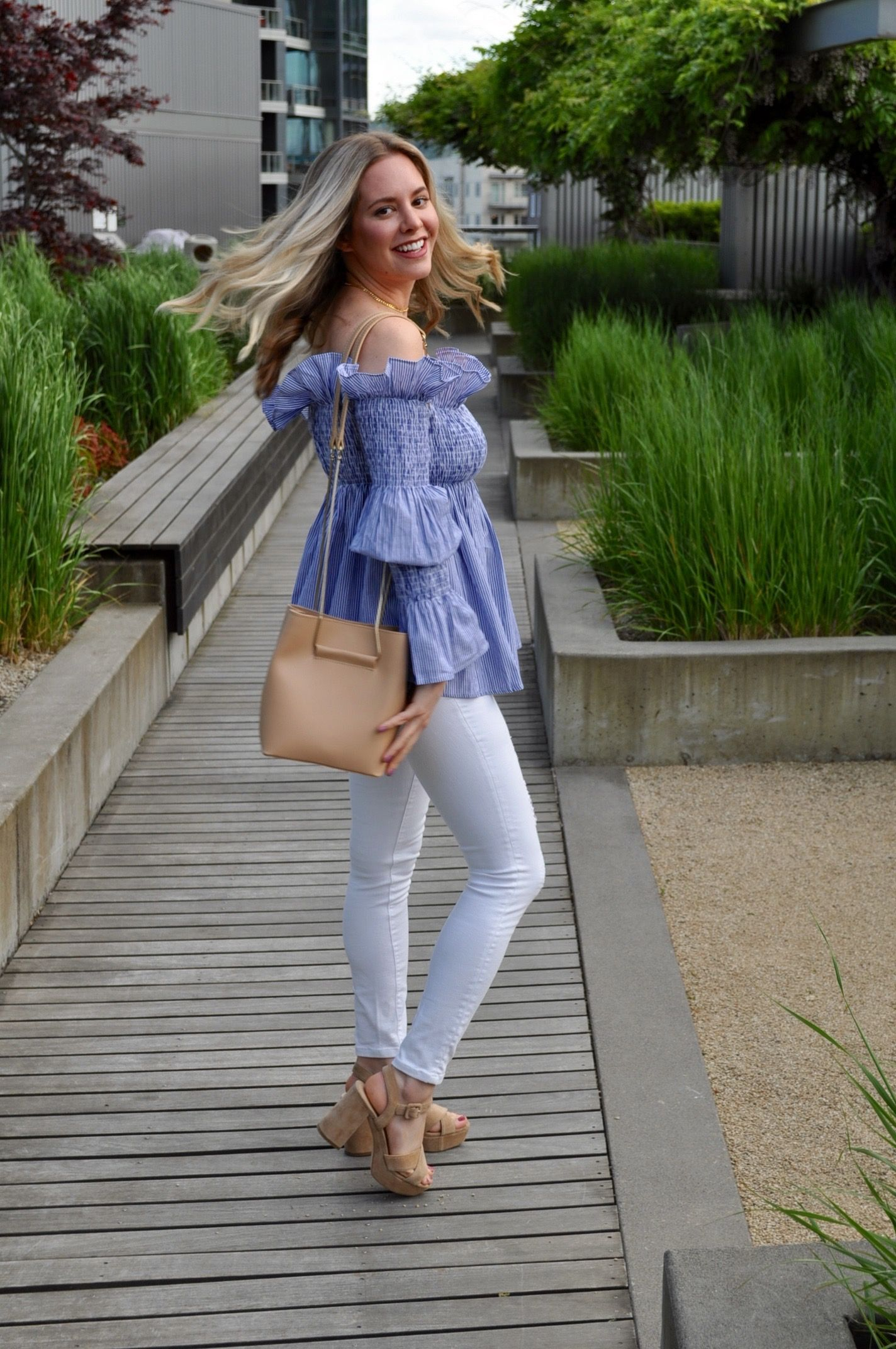 bb844844f0917 Off the shoulder ruffle pinstripe top and white jeans (via Confessions of a Product  Junkie blog.)
