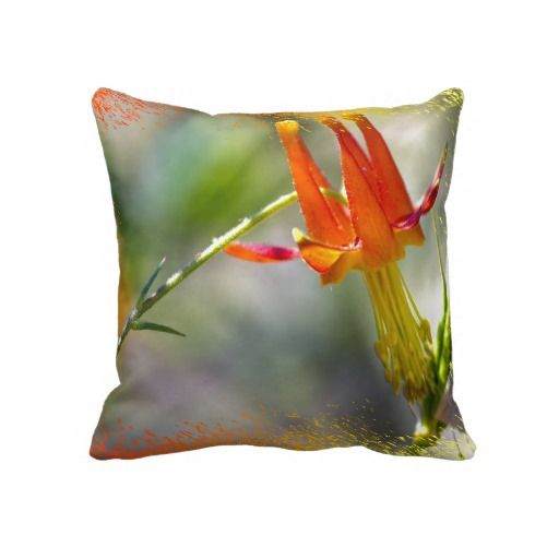 Crimson Columbine Pillow by Florals by Fred #zazzle #gift #photogift