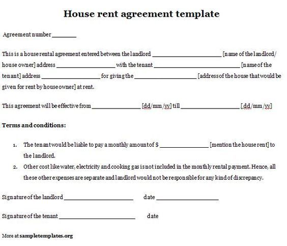 Printable Sample Simple Room Rental Agreement Form