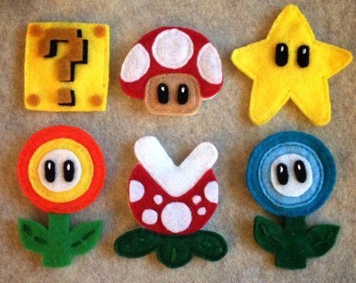 Manualidades en fieltro, imanes para la nevera con la forma de los personajes de Mario Bros #fieltromanualidades