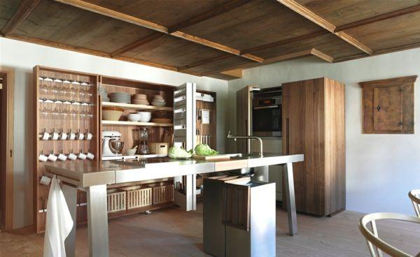 rustikale-moderne-Luxus-Küche-Edelstahl-Schrank design kitchens - team 7 küche