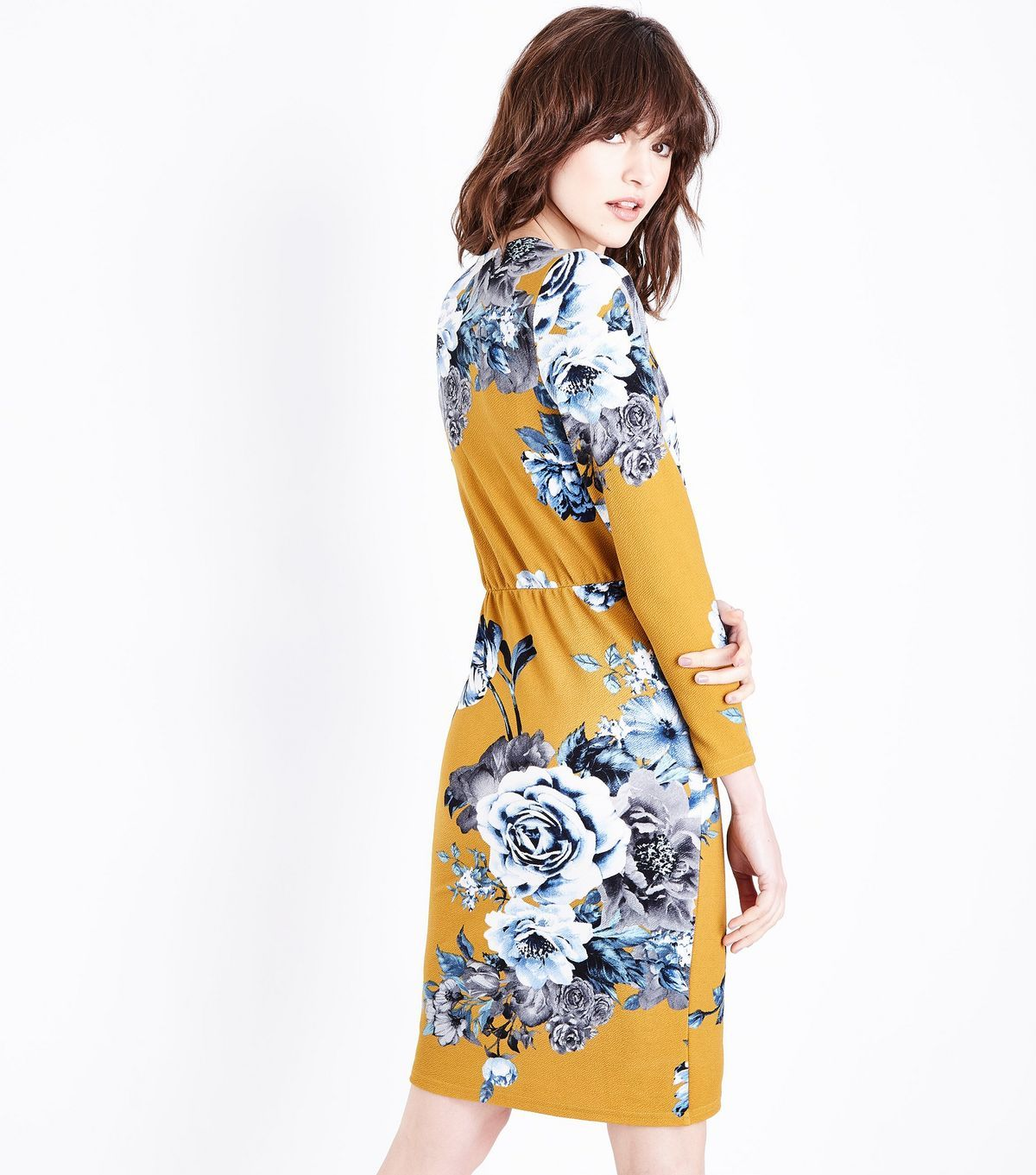 Grey floral crepe long sleeve wrap dress wrap dresses crepes and