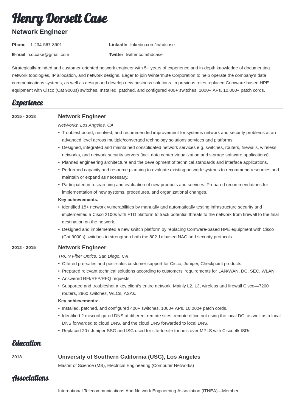 Network Engineer Resume Example Template Valera Network Engineer Resume Examples Resume Layout