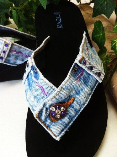 69c62c119292 DIY idea - glue 2 jeans tops onto plain black flip-flops. Mix and match 2  denim colors if you have to.