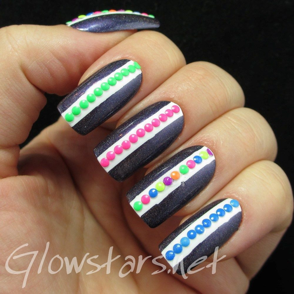 Holo with neon stud stripes a manicure using all that jazz ice ice