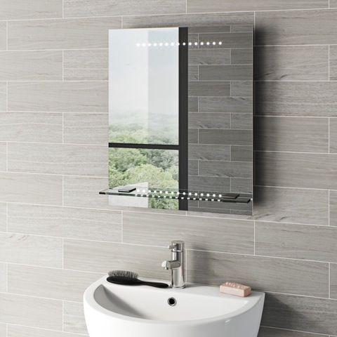 Mode Iridonia Led Illuminated Mirror And Shelf 600 X 500mm With Demister Charging Socket Mirror Shelves Floating Glass Shelves