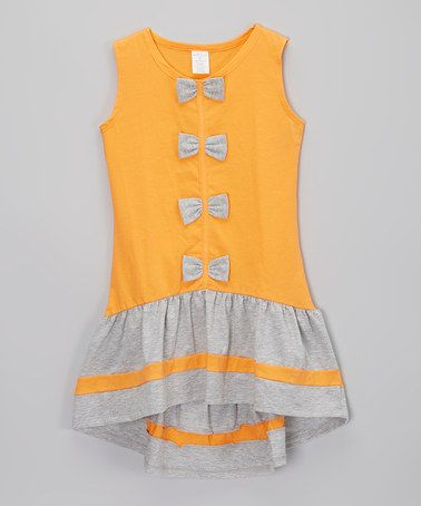 Love this Orange & Gray Bow Ruffle Dress - Infant, Toddler & Girls by Little Miss Fashion on #zulily! #zulilyfinds