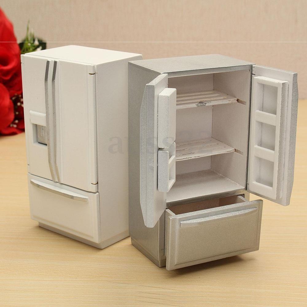 White Wood Refrigerator Fridge Freezer Dolls House Kitchen Decor 1//12 Scale