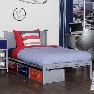 Elite Products Twin Metal Locker Storage Bed In Silver Finish