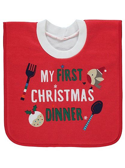 b69bc6034 My First Christmas Dinner Bib, read reviews and buy online at George at  ASDA. Shop from our latest range in Baby. Make special memories in this  cute 'my ...