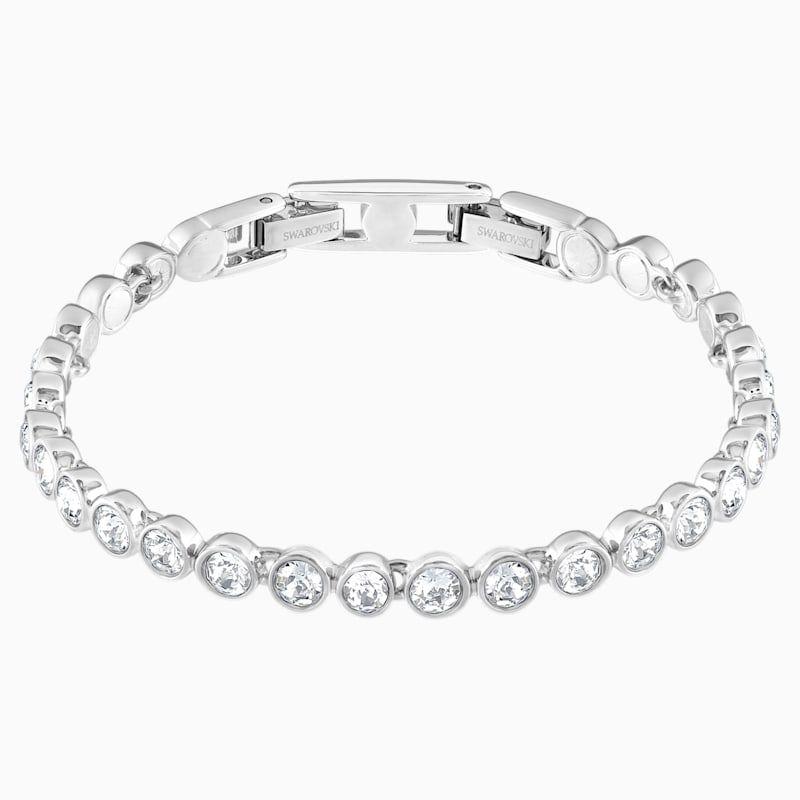 Tennis Bracelet White Rhodium Plated By Swarovski In 2020 Swarovski Bracelet Tennis Bracelet Diamond Silver Bracelets