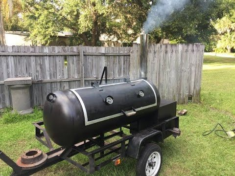 Reverse Flow Smoker Trailer Build From A 120g Propane Tank With Cook Images Smoker Trailer Propane Tank Smoker Plans