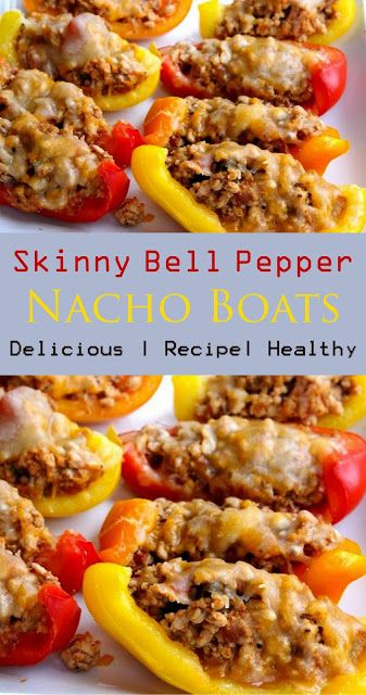 Skinny Bell Pepper Nacho Boats - NEW RECIPES #bellpeppers