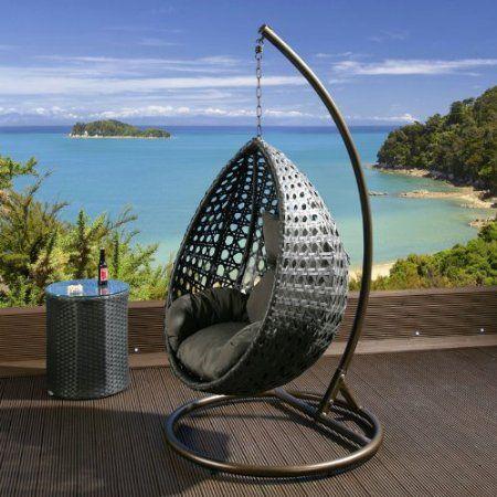 Luxury Outdoor Garden Hanging Chair Black Rattan Grey Cushion Xl