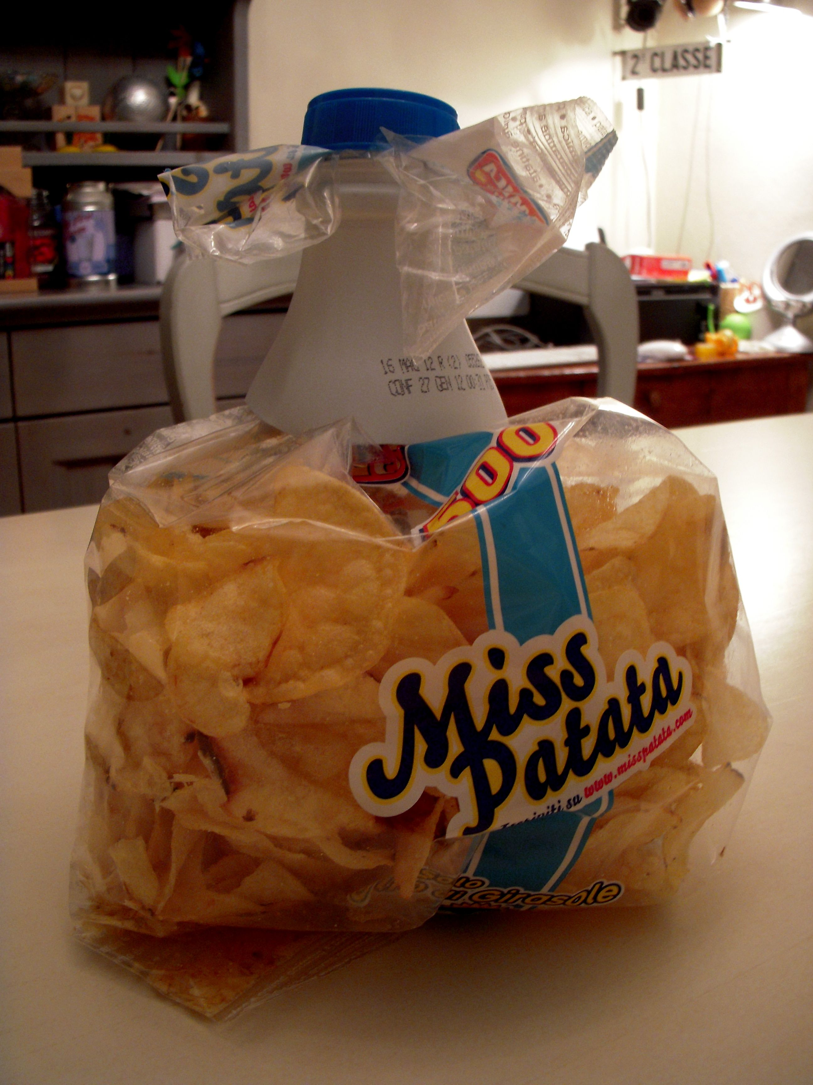 closed bag with plastic bottle