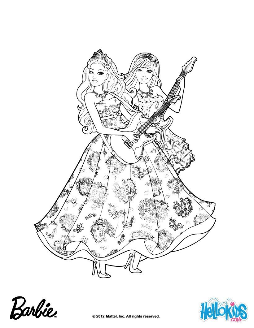 Barbie Princess And The Popstar Coloring Pages Printable