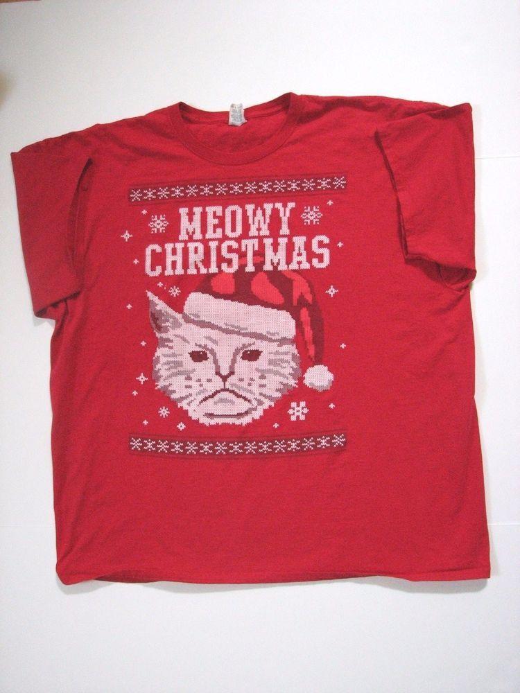 48fb09df93cb Meowy Christmas Red White Cat Christmas T-Shirt XXL 3XL Short Sleeve Cotton