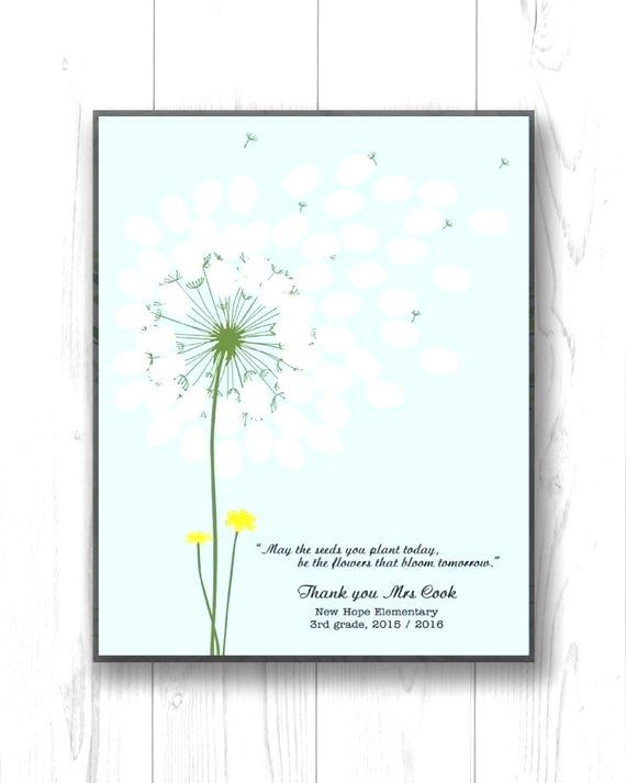 This classroom fingerprint dandelion design is a perfect gift to give to a very special teacher. E
