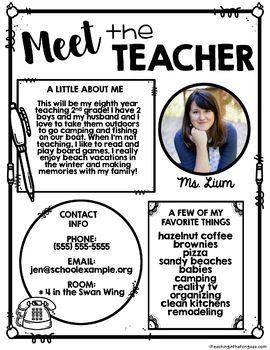 Pin By Alissa Avila On Back To School Meet The Teacher Template Teacher Templates Meet The Teacher