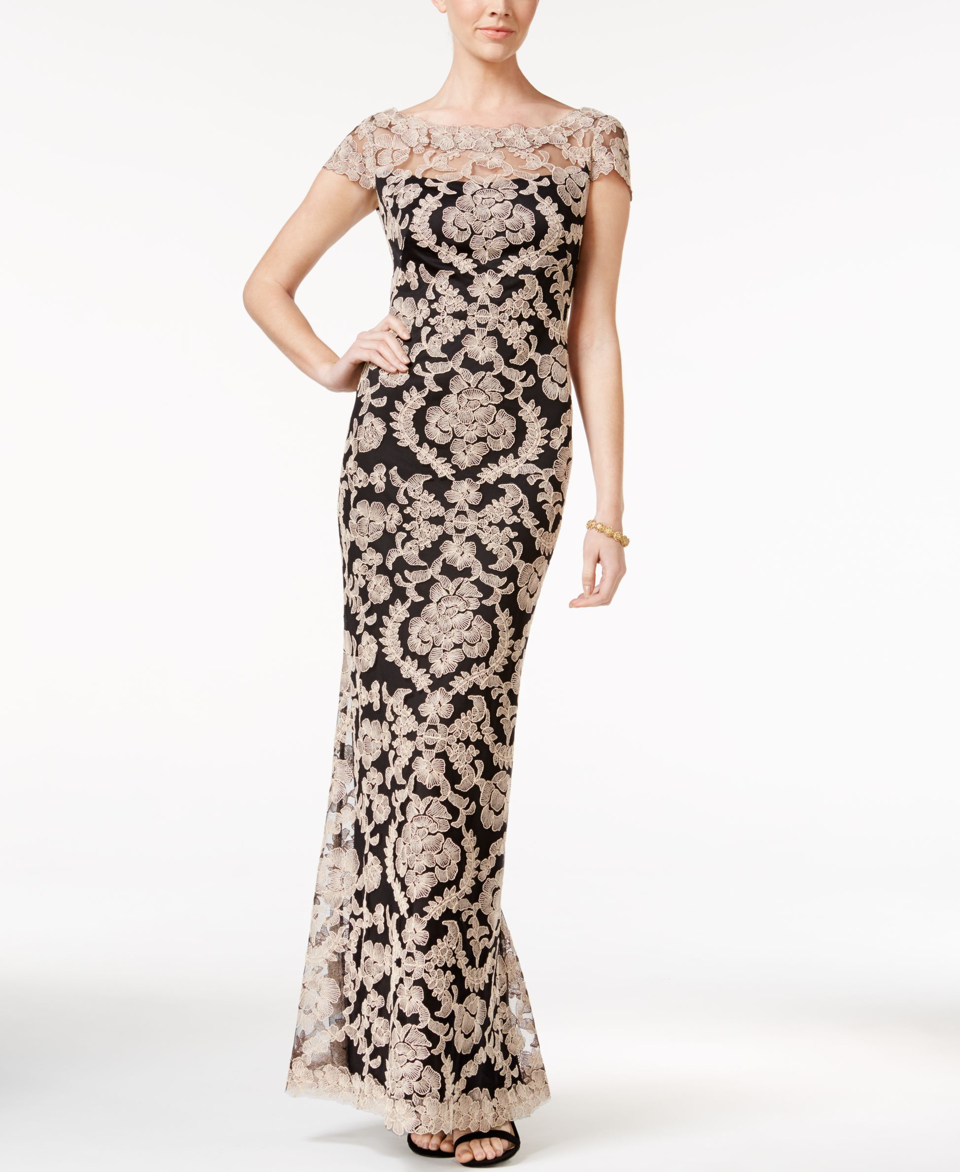Tadashi Shoji Illusion-Lace Cap-Sleeve Gown | Products | Pinterest ...