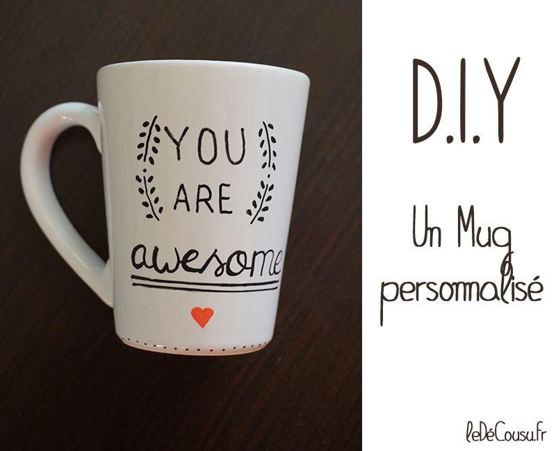 mug customis avec message personnalis un feutre posca. Black Bedroom Furniture Sets. Home Design Ideas