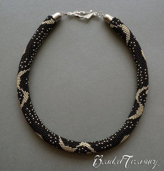 SILVER RAIN Bead crochet pattern Beaded crochet necklace Seed beads ...