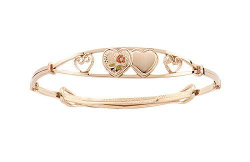 14K Yellow Gold Double Heart Adjustable Bangle Bracelet for Children