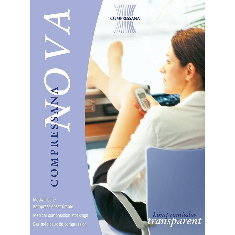 Kompressionsstrümpfe COMPRESSANA NovaMit NOVA setzen Sie kompromisslos auf luftige Transparenz und zeigen Bein- gerade auch an heißen Tagen. Unauffällige Optik, Luftigkeit, Transparenz und Passform machen NOVA unter den Kompressionsstrümpfen einzigartig.Das Geheimnis von NOVA liegt in der Technik: Elastische Fäden werden mit sehr dünnem, glattem, hautfreundlichem Polyamid umsponnen- so entsteht ein relativ festes, aber sehr dünnes Garn. Für er